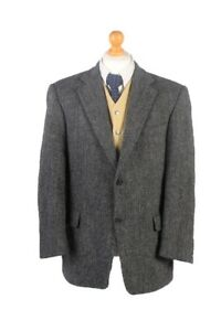 Vintage-Harris-Tweed-Barutti-Herringbone-Blazer-Jacket-Chest-44-Grey-HT2534