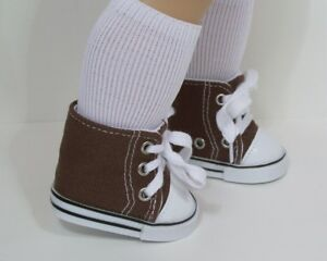 d04176fa71e BROWN Canvas HiTop Tennis Doll Shoes For 18