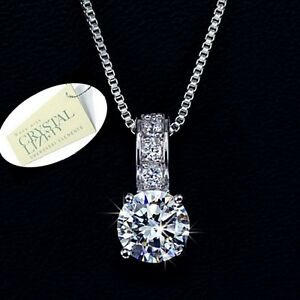 Genuine-Swarovski-Crystals-White-Gold-Plated-Pendant-Necklace-Mum-Wife-Gift-Her