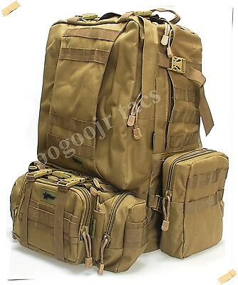 NEW 1000D LARGE MOLLE ASSAULT TACTICAL BACKPACK MILITARY RUCKSACK CB Brown