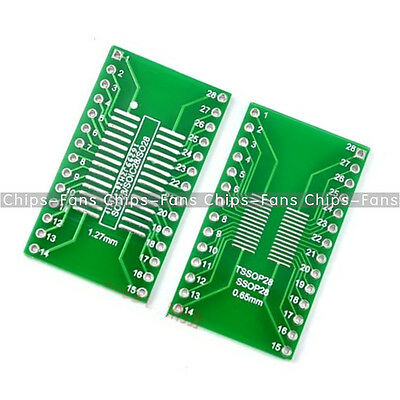 5PCS SOP28 SSOP28 TSSOP28 to DIP28 Adapter Converter PCB Board 0.65 1.27mm