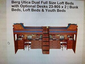 Bunk Bed Lofts Berg Utica Dual Full Size Loft Bed With Desk Ebay