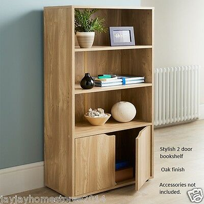 Stylish 2 Door Turin Bookcase With Adjustable Shelves.