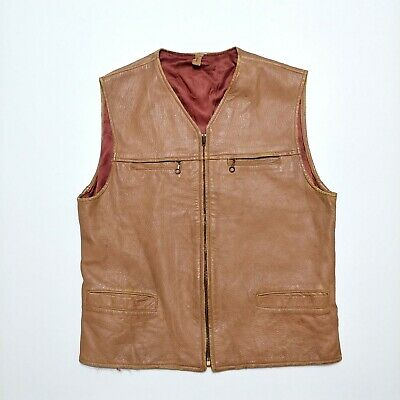 4eb597c30c6 DeerSkin Leather Vest Vintage 1950s 60s Made In USA Sport Outdoors Hunting  Shirt | eBay