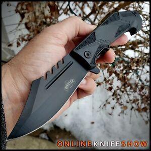BLACK COMBAT FOLDING BLADE Tactical Spring Assisted Open Pocket Knife SAW-BACK