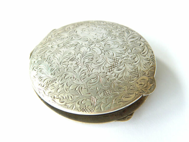 "Antique Art Nouveau POWDER BOX Ornate Sterling Silver Compact Monogramed ""RK"""
