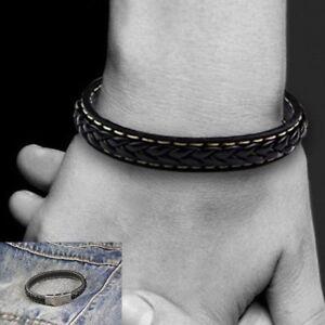 Bracelet-Cuir-Tresse-Homme-Noir
