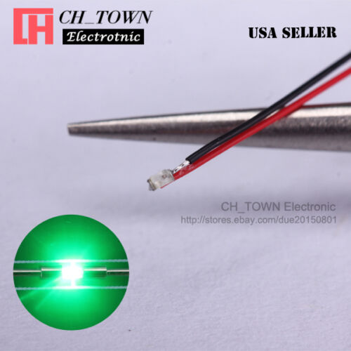 10PCS Pre-Soldered 0402 1005 Green Light Micro Pre Wired 20CM SMD LED Diodes