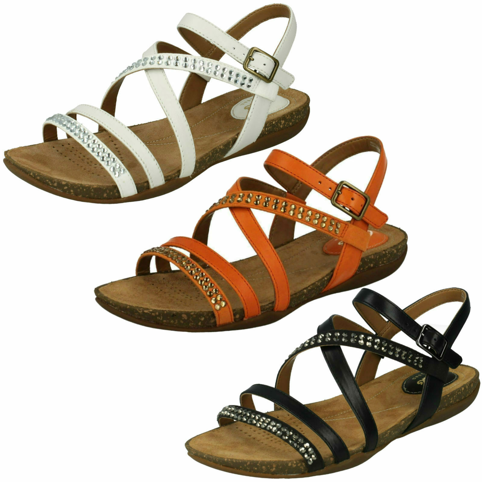 LADIES CLARKS LEATHER BUCKLE SLINGBACK CASUAL FLAT STRAPPY SANDALS AUTUMN PEACE