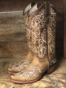 11af49f610f Details about Circle G by Corral Women's Tan Scroll Embroidered Snip Toe  Western Boots L5418