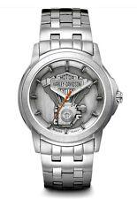 Harley-Davidson® Bulova Men's Steel Bar & Shield V-twin Medallion Watch 76A021
