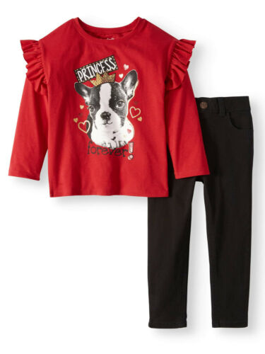 NEW Toddler Girls Garanimals 2 Pc Puppy Princess Top /& Skinny Jeans Set Size 3T