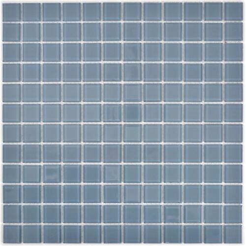 Mosaik Fliese Transluzent Glasmosaik Crystal grau  63-0202/_f10 Matten