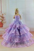 Purple Fashion Princess Dress/clothes/gown+veil+gloves For Barbie Doll S305u