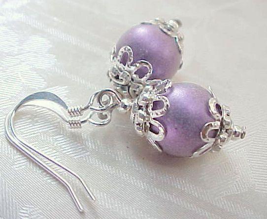 Mini Easter Egg Earrings Minimalist Iridescent Purple Czech Glass Beads Basket