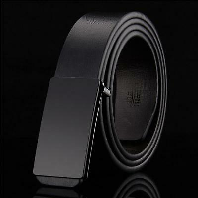 Luxury Mens Black Leather Belt Waistband Strap Slide Buckle Casual/Business