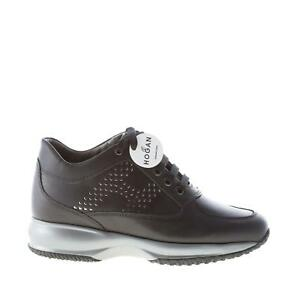 HOGAN-scarpe-donna-shoes-Sneaker-Interactive-in-pelle-nero-monogramma-laminato