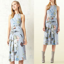 sz 40 NEW $1750 GUCCI Runway Blue Flora KRIS KNIGHT Cady BELTED Spring DRESS XS