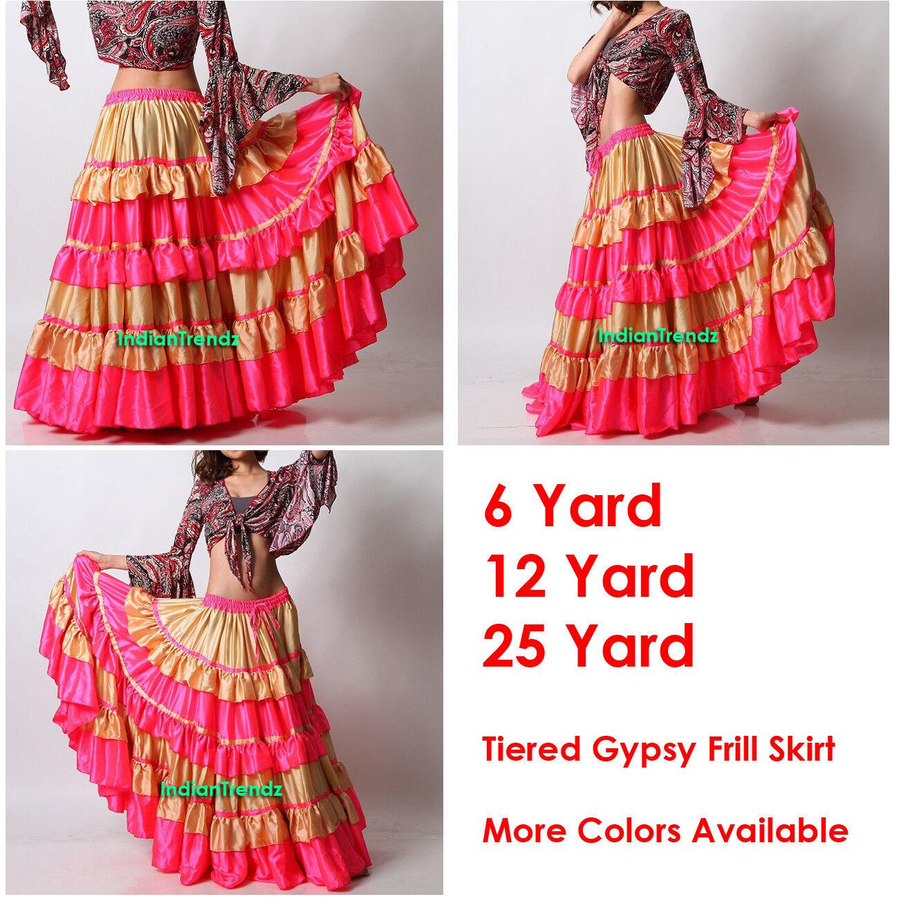 Lgold DeepPink Satin 6 12 25 Yard Tiered Gypsy Frill Skirt Belly Dance Flamenco