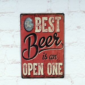 BEST-BEER-is-OPEN-ONE-Vintage-metal-Tin-signs-Beer-Home-Pub-wall-decor