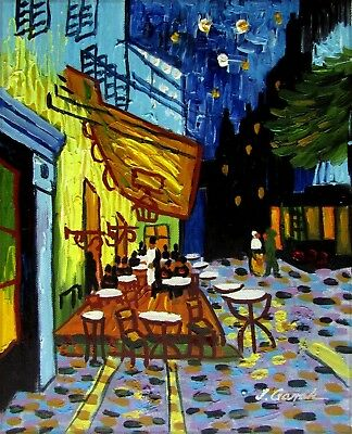 Quality Hand Painted Oil Painting Repro Van Gogh Cafe Terrace at Night, 8x10in