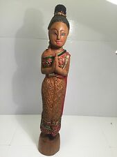 """Vintage hand-carved solid wooden Praying 15"""" Asian Indian Woman Blessing Statue"""