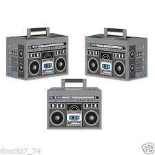3 1980s 80's Party Favor Boxes Decoration BOOM BOX Ghetto Blaster HIP HOP Radio