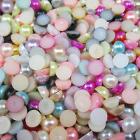 4/5/6/7/8/10/12mm Half Pearl Beads Flat Back Scrapbook for DIY Craft pick colors