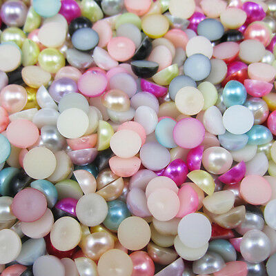 NEW 400pcs Mix Half Pearl Bead Flat Back 4mm Scrapbook for Craft FlatBack 18 .