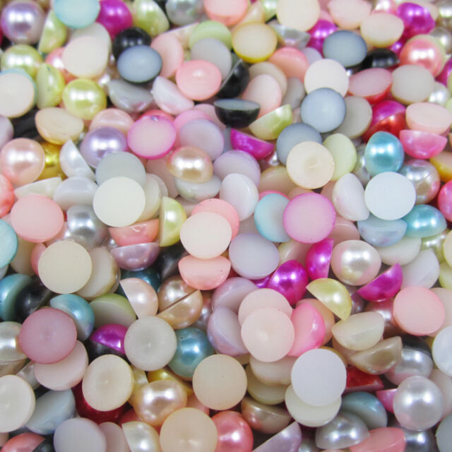 NEW 100pcs Mix Half Pearl Bead Flat Back 8mm Scrapbook for Craft FlatBack 18/