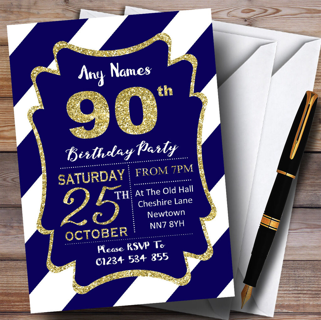 Blau Weiss Diagonal Stripes Gold Personalised 90th Birthday Party Invitations 8b12a8