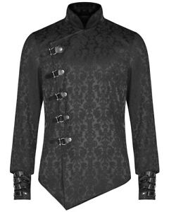 Punk-Rave-Homme-Gothique-Steampunk-Shirt-Top-Brocart-Noir-Victorien-Damas-Veste
