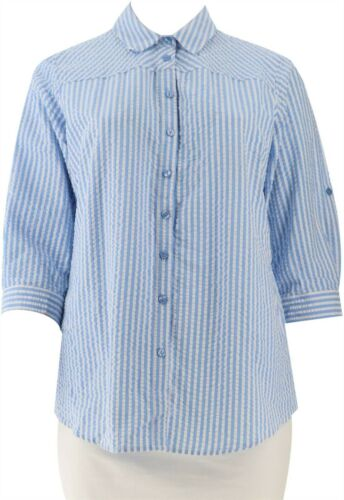 Joan Rivers 3//4 Slv Seersucker Shirt Back Button Blue L NEW A306406