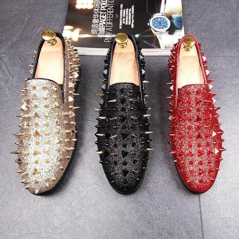 New Men's Spike pointy Toe Punk Studded rivet Loafers casual dress slip on shoes