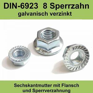 M6 DIN 6923 verzinkte Sechskant Flansch Muttern mit Sperrzahn Bund Mutter 8.