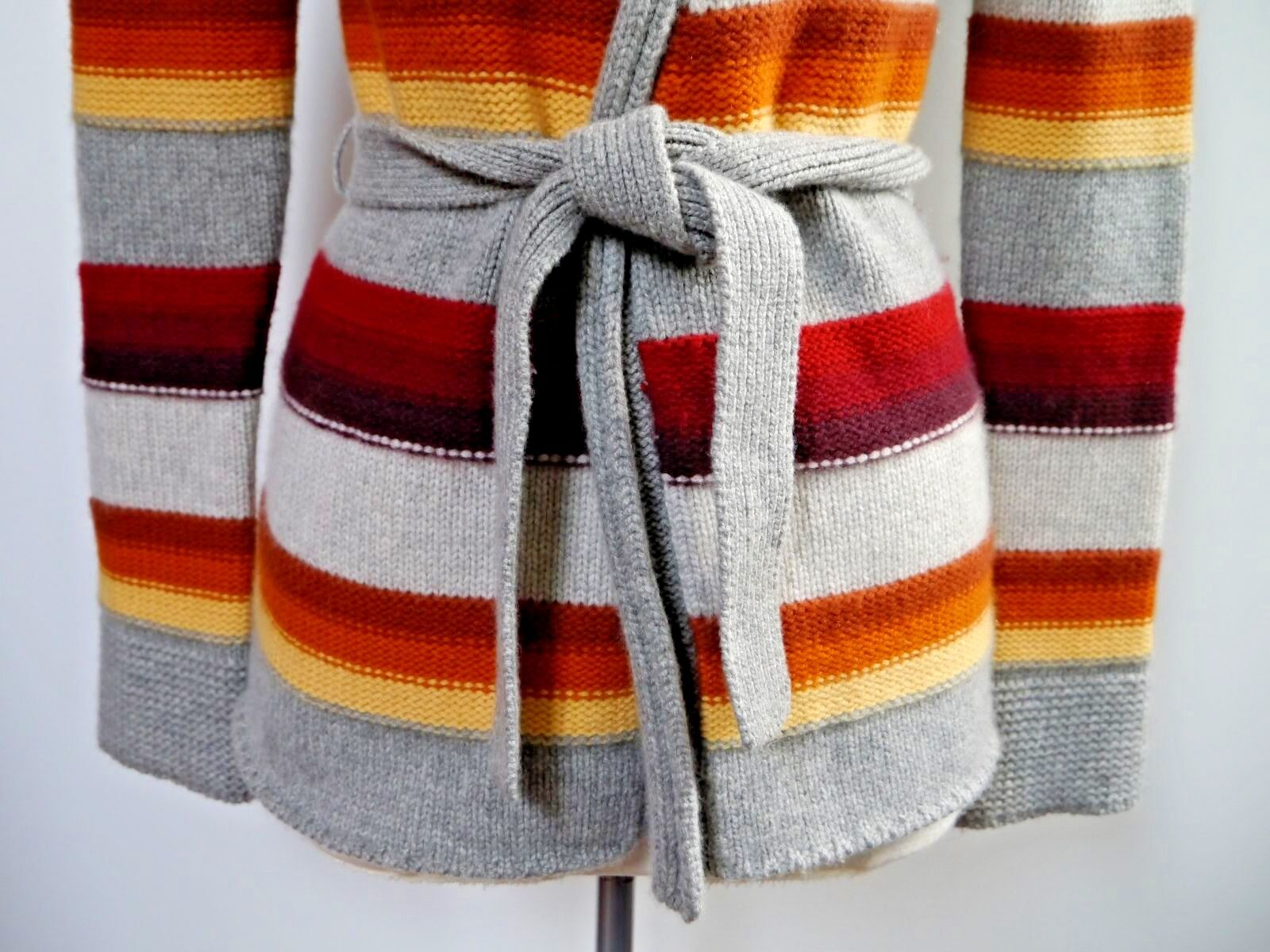 VINCE striped 8 ply cashmere belted cardigan sweater size XS XS XS WORN ONCE 658cde