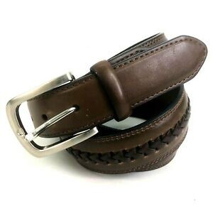 CLE-Leather-Mens-Belt-Brown-Woven-Size-36-034-34-38-Brass-Buckle