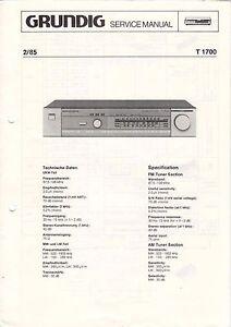 B2889 Sammlung Hier Grundig T 1700 2/85 Service Manual