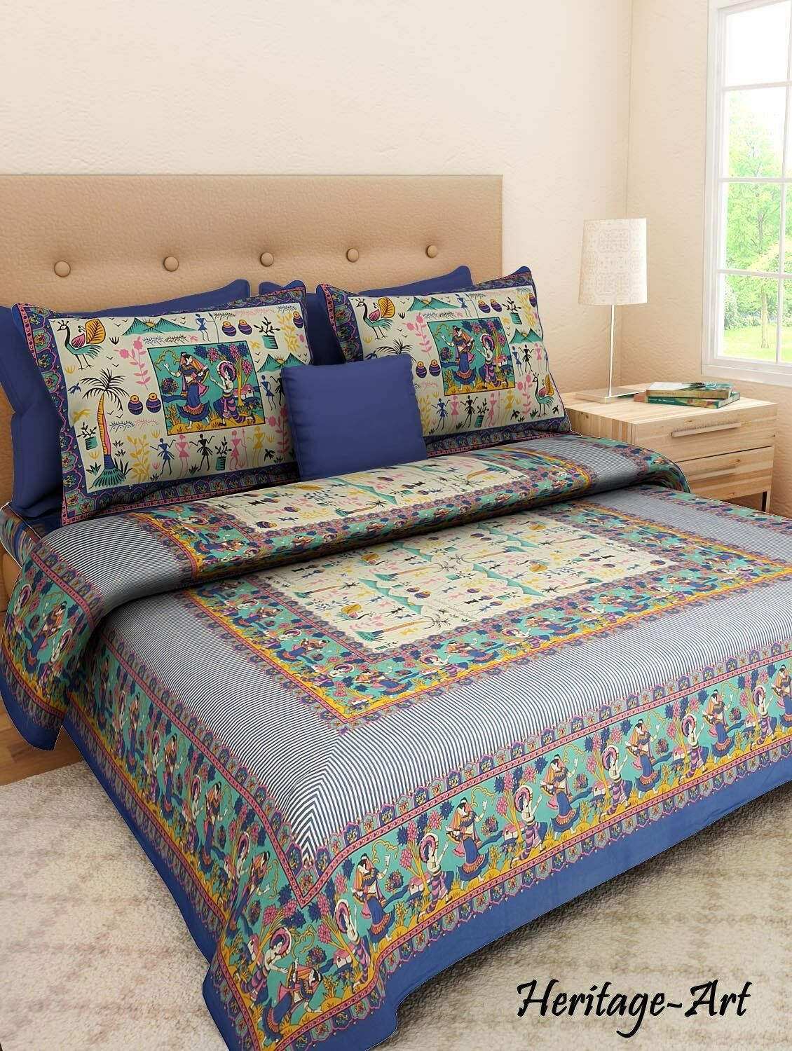 Indian Sanganeri Rajasthani Print bluee Pure Cotton Bed Sheet Two Pillow Covers