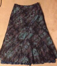 Per Una blue grey pink long Skirt, Size 12 flared frilled on hem