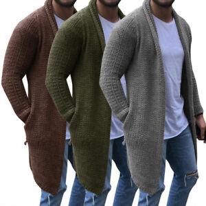 Solido-hombres-manga-larga-chaqueta-de-punto-larga-tipo-Sueter-Informal-Chaqueta-Piloto-Prendas-de