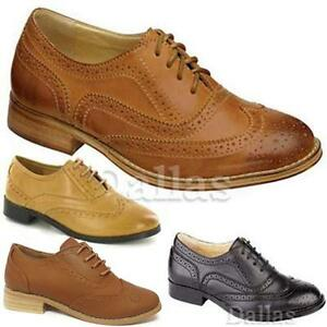 WOMENS-FLAT-SHOES-LADIES-GIRLS-LACE-UP-SMART-OFFICE-VINTAGE-BROGUE-SHOES-SIZE