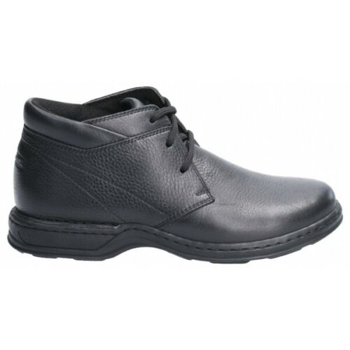 Hush Puppies REGGIE Mens Autumn Winter Leather Mid Top Lace Up Boots Black