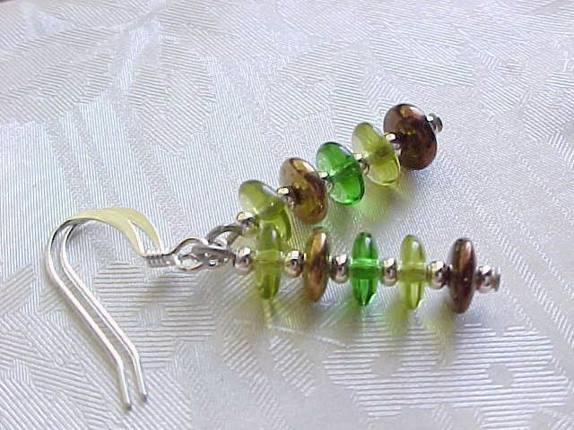 Minimalist Earrings Czech Glass Ombre Brown Green Woodland Stack Birthday Gifts