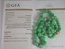 NATURAL GREEN JADE BEAD NECKLACE 14K DIAMOND GRADE A JADE GIA JADE CERTIFIED