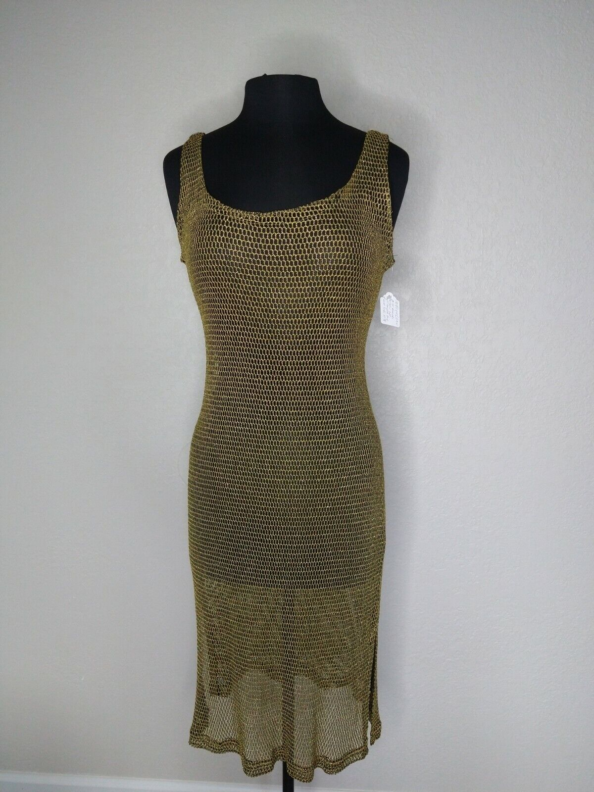 ❤️ Lame Gold Sheer Net Dress Cover Up Layer Avantgarde 80s Disco Glam Rock