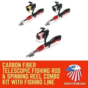 Carbon Fiber Telescopic Fishing Rod & Spinning Reel Combo Kit with Fishing Line