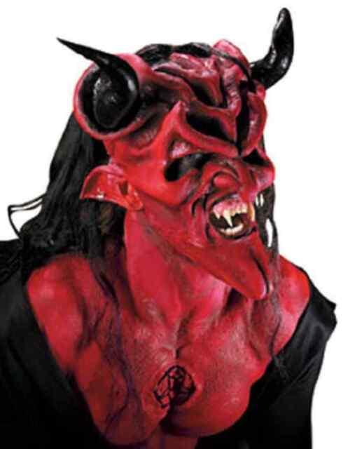Dark Lord Red Devil Satan Fancy Dress Halloween Costume Makeup Latex Prosthetic