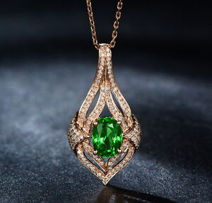 Solid 18kt rose gold natural gorgeous green tsavorite garnet diamond image is loading solid 18kt rose gold natural gorgeous green tsavorite aloadofball Image collections