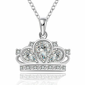 PRINCESS-CROWN-NECKLACE-925-Sterling-Silver-Queen-Crown-Charm-Necklace-NEW